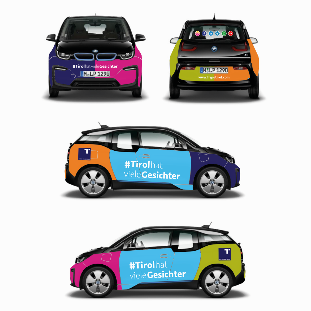 Branding E-Auto #TirolhatvieleGesichter. Hypo Tirol Bank The Great Creative Shark